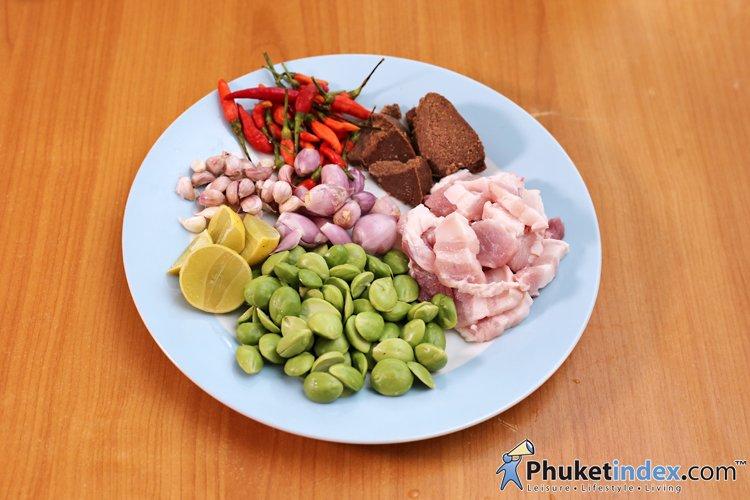 Pork Belly Stir Fried with Shrimp Paste and Stink Beans (Moo Sam Chun Pad Kapi Sator) By Chef Jorm
